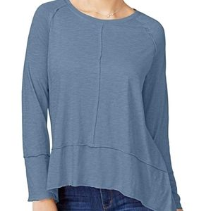 Style & Co Tops - Style & Co Blue Hi-Low Long Sleeve Tunic Top Small